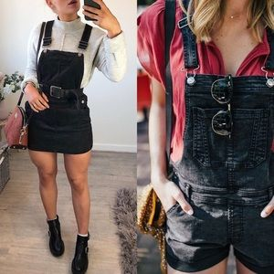 Pants - Black denim overall jumper